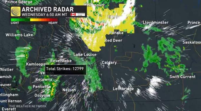 Radar records 12,000 lightning strikes in Alberta overnight